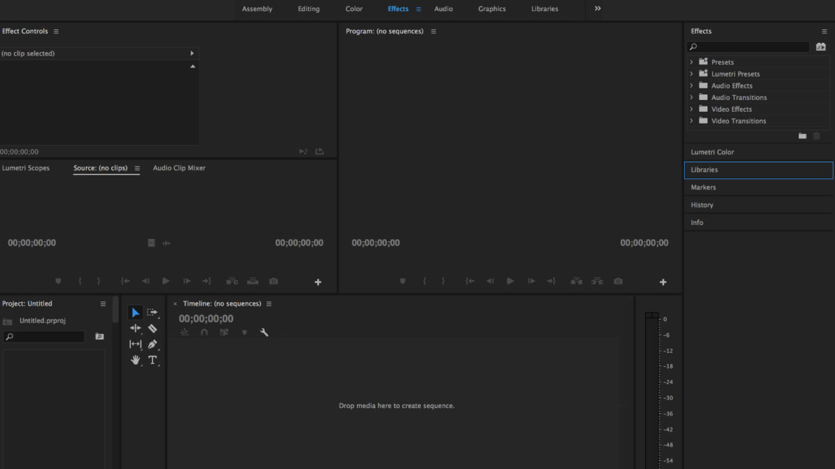 Adobe Premiere Pro video editing software screenshot