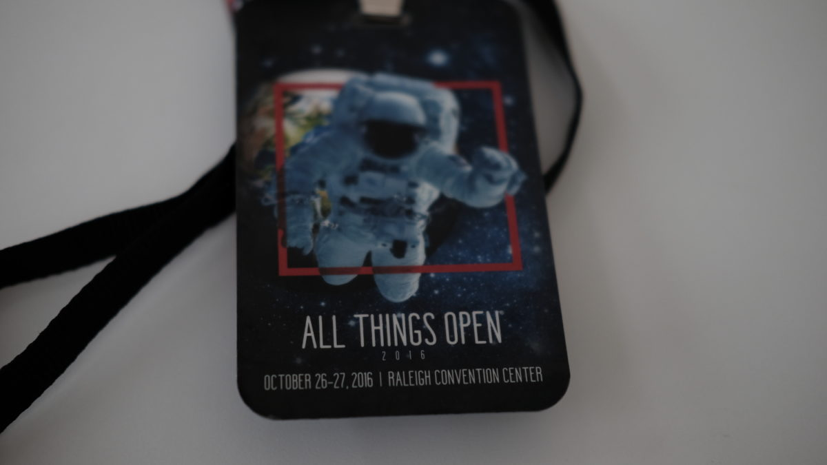 All Things Open conference badge for 2016
