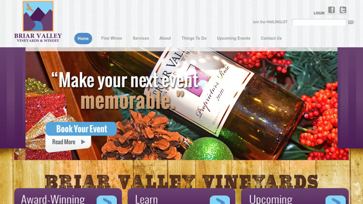 screenshot of the Briar Valley Vineyards and Winery website