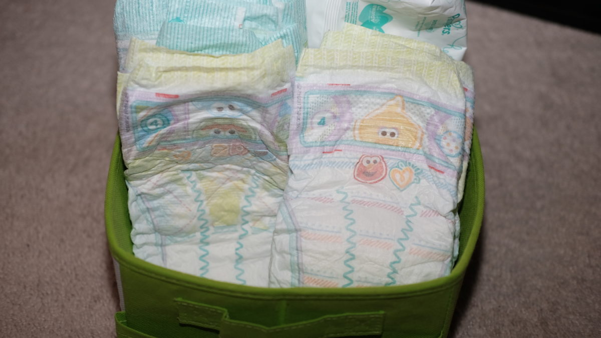 diapers in holder