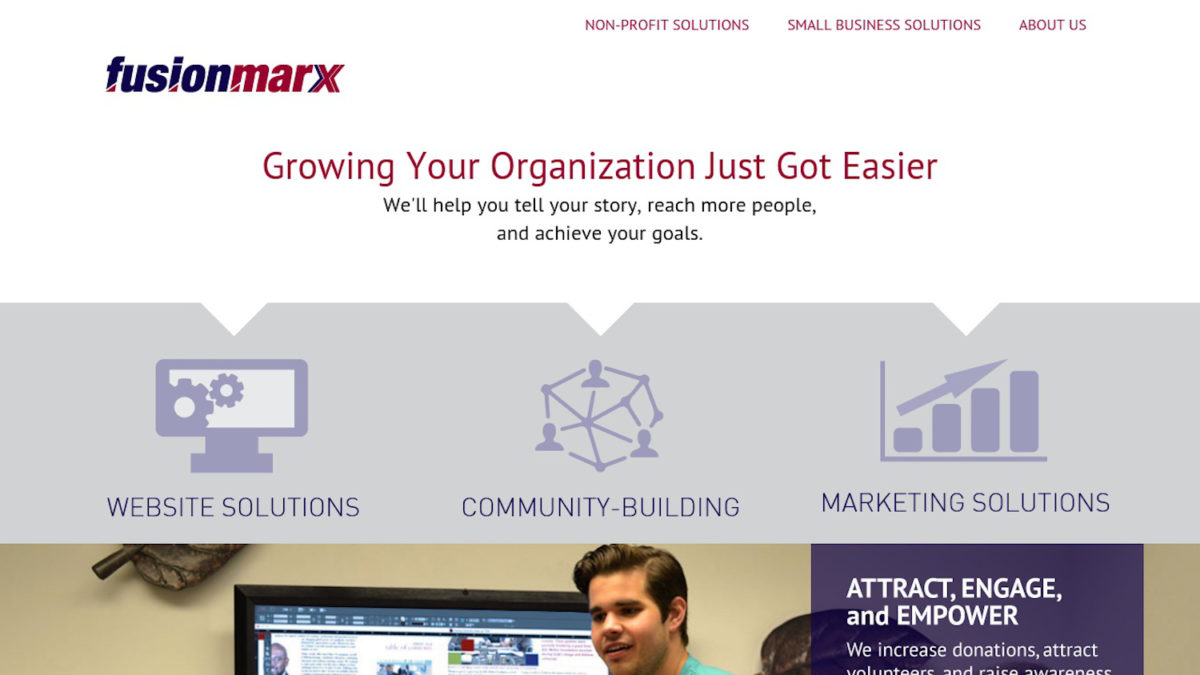 screenshot of the Fusionmarx website header