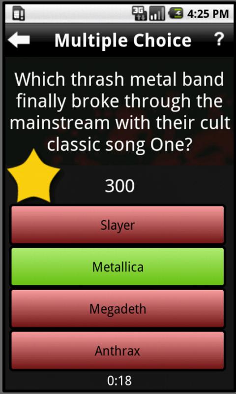 heavy metal trivia app question screenshot