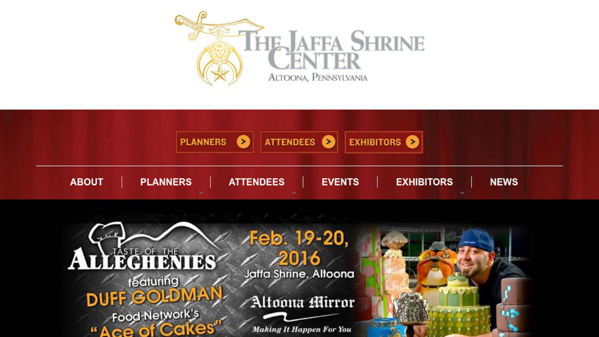 screenshot of the Jaffa Shrine website header