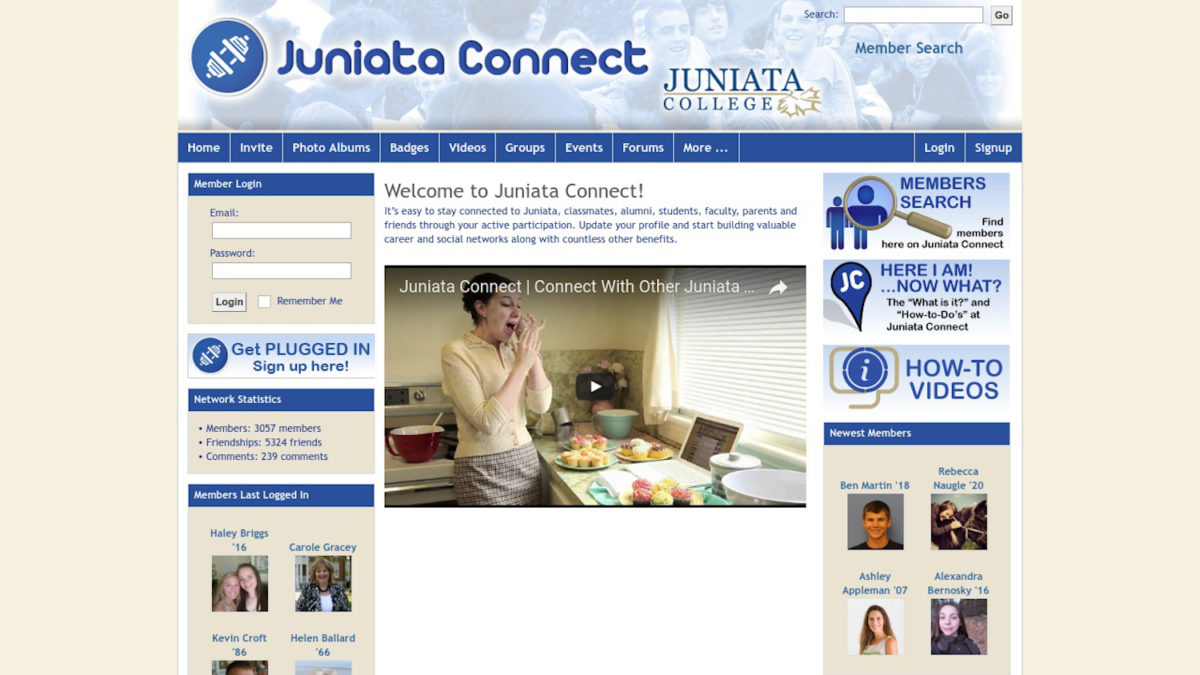 Juniata Connect web application homepage