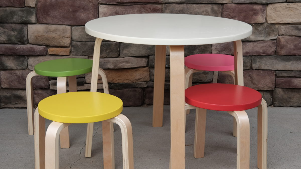 wooden set of table and chairs for kids