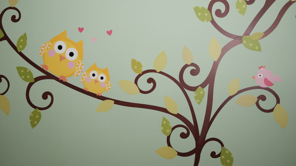 owl wall stickers on baby room wall