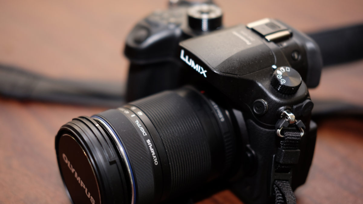 Panasonic GH4 Lumix camera with Olympus zoom lens