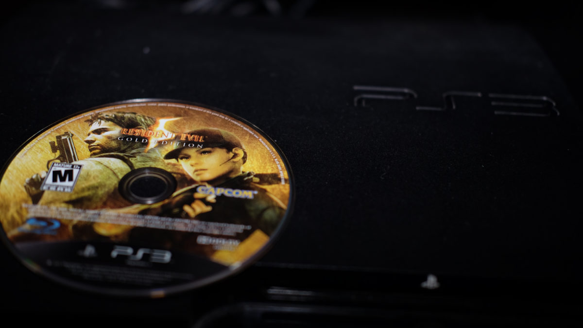 Resident Evil 5 game disc on PS3